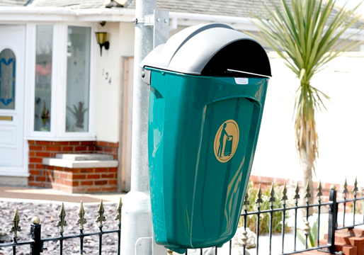Pole Mounted Hooded Litter Bin