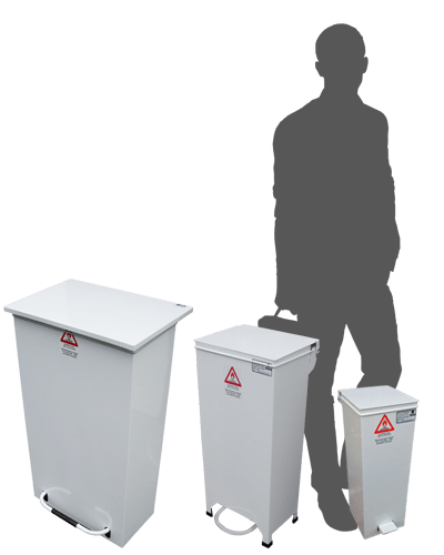 pedal bin range showing sizes